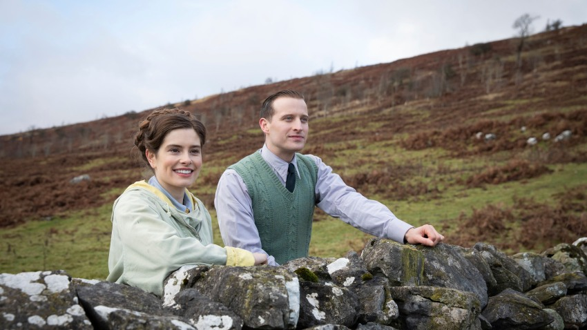"This image released by PBS shows Rachel Shenton and Nicholas Ralph, right, in a scene from ""All Creatures Great and Small on MASTERPIECE."""