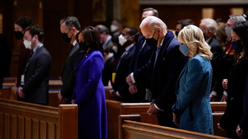 President-elect Joe Biden and his wife Jill Biden attend Mass
