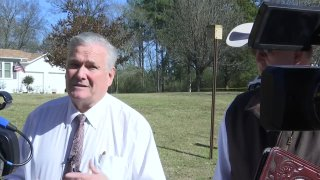 Smith County Sheriff Larry Smith gives an update Sunday, Jan. 3, 2021, on a shooting at the Starrville Methodist Church. The pastor of an East Texas church was fatally shot Sunday morning by a man who was hiding in the church after a pursuit.