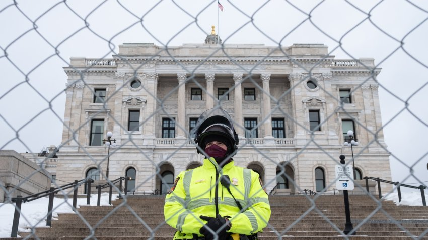 A Minnesota State Troop stands guard on the steps of the Capitol building, in Saint Paul, United States, on January 16, 2021. Following the Capitol riot in Washington D.C. on January 6, state authorities around the country have stepped up security at government buildings as we head toward Inauguration Day. In St. Paul, over 100 law enforcement officers and National guard members were on guard Saturday in preparation for a Pro-Trump rally aimed at promoting widely disproved claims of election fraud.