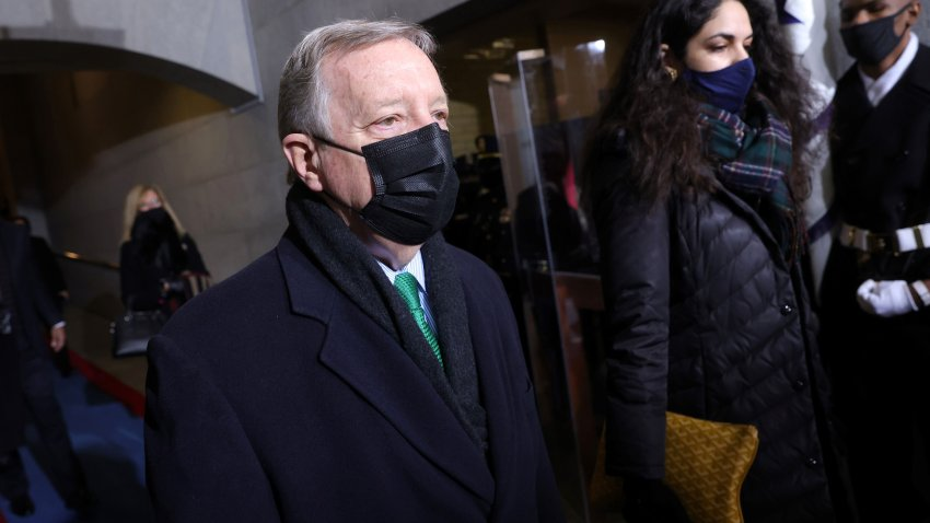 Senator Dick Durbin arrives for the inauguration of Joe Biden as the 46th US President, on the West Front of the US Capitol in Washington, DC on January 20, 2021.