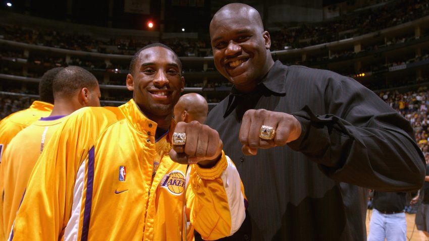 Kobe Bryant #8 and Shaquille O'Neal
