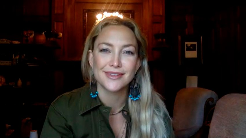 "In this April 27, 2020, file photo, actress Kate Hudson appears on ""The Tonight Show Starring Jimmy Fallon."""