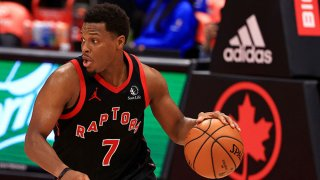 Kyle Lowry #7 of the Toronto Raptors brings the ball up during a game against the Dallas Mavericks at Amalie Arena on Jan. 18, 2021 in Tampa, Florida.