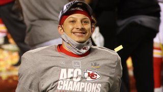 Patrick Mahomes #15 of the Kansas City Chiefs reacts after defeating the Buffalo Bills 38-24 in the AFC Championship game at Arrowhead Stadium on January 24, 2021, in Kansas City, Missouri.