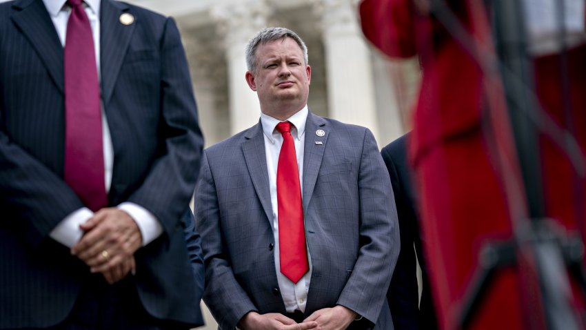 Jason Ravnsborg, South Dakota attorney general, listens during a news conference outside the Supreme Court in Washington, D.C., U.S., on Monday, Sept. 9, 2019.