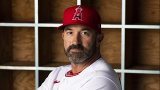 Los Angeles Angels pitching coach Mickey Callaway (75) poses for a portrait during Angels Photo Day on February 18, 2020, at Tempe Diablo Stadium in Tempe, AZ.