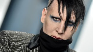 In this Feb. 9, 2020 file photo, Marilyn Manson attends the 2020 Vanity Fair Oscar Party hosted by Radhika Jones at Wallis Annenberg Center for the Performing Arts in Beverly Hills, California.