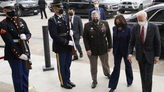 U.S. President Joe Biden and Vice President Kamala Harris arrive at the Pentagon in Arlington, Virginia, U.S., on Wednesday, Feb. 10, 2021.