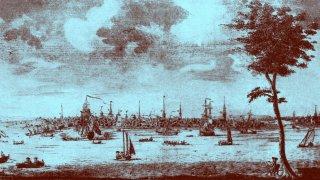 A view of Boston Harbor around 1720