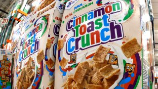 This May 14, 2020, file photo shows a display of General Mills Cinnamon Toast Crunch cereal at a Costco Warehouse in Robinson Township, Pennsylvania.