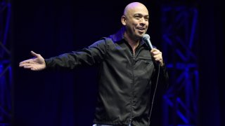"""SAN FRANCISCO, CALIFORNIA - FEBRUARY 15: Jo Koy performs during his """"Just Kidding"""" world tour at the Chase Center on February 15, 2020 in San Francisco, California."""