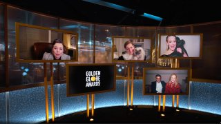 Pictured in this screengrab released on February 28, (l-r) Best Performance by an Actress in a Television Series – Drama nominees Olivia Colman, Emma Corrin, Laura Linney (with Marc Schauer), and Sarah Paulson speak during the 78th Annual Golden Globe Awards broadcast on February 28, 2021