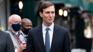 White House senior adviser Jared Kushner walks back to the West Wing after a television interview at the White House, Monday, Oct. 26, 2020, in Washington.