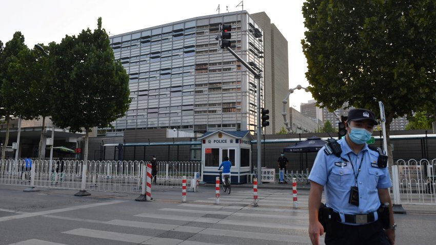 A policeman patrols outside the US embassy in Beijing on September 12, 2020.