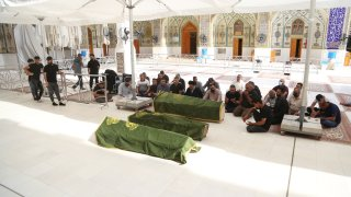 Funeral ceremony held for 3 people who lost their lives at Baghdad Ibn al-Hatip Hospital fire, in Najaf, Iraq on April 25, 2021.