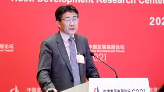 Gao Fu, director of the Chinese Center for Disease Control and Prevention, speaks during the 2021 China Development Forum at Diaoyutai State Guesthouse on March 20, 2021 in Beijing, China.
