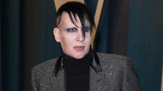 This Feb. 9, 2020, file photo shows Marilyn Manson at the 2020 Vanity Fair Oscar Party at Wallis Annenberg Center for the Performing Arts in Beverly Hills.