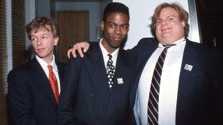 David Spade, Chris Rock, and Chris Farley during 65th Annual Academy Awards