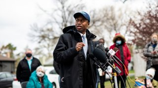 Brooklyn Center Mayor Mike Elliott speaks during a press conference at a memorial for Daunte Wright on April 20, 2021 in Brooklyn Center, Minnesota.