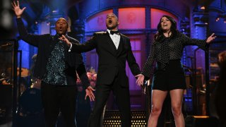 """""""Keegan-Michael Key"""" Episode 1804 -- Pictured: (l-r) Kenan Thompson, host Keegan-Michael Key, and Cecily Strong during the Monologue on Saturday, May 15, 2021."""