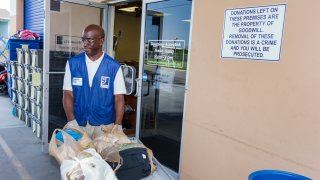 Undated file photo of a worker at Goodwill Industries.