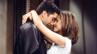 """Jennifer Aniston and David Schwimmer as Rachel and Ross on """"Friends."""""""