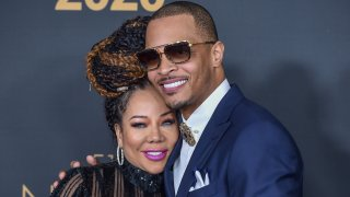 """Tameka """"Tiny"""" Cottle and T.I. attend the 51st NAACP Image Awards at the Pasadena Civic Auditorium in Pasadena, California."""