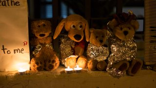 Stuffed toy animals wrapped in aluminum foil representing migrant children separated from their families are displayed in protest in front of the United States embassy in Guatemala City, June 20, 2018. In a report released Tuesday, June 8, 2021, the Biden administration says it has identified more than 3,900 children separated at the border under former President Donald Trump's 'zero-tolerance' policy on illegal crossings.