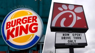 Burger King sign (left), Chick-fil-a sign (right).