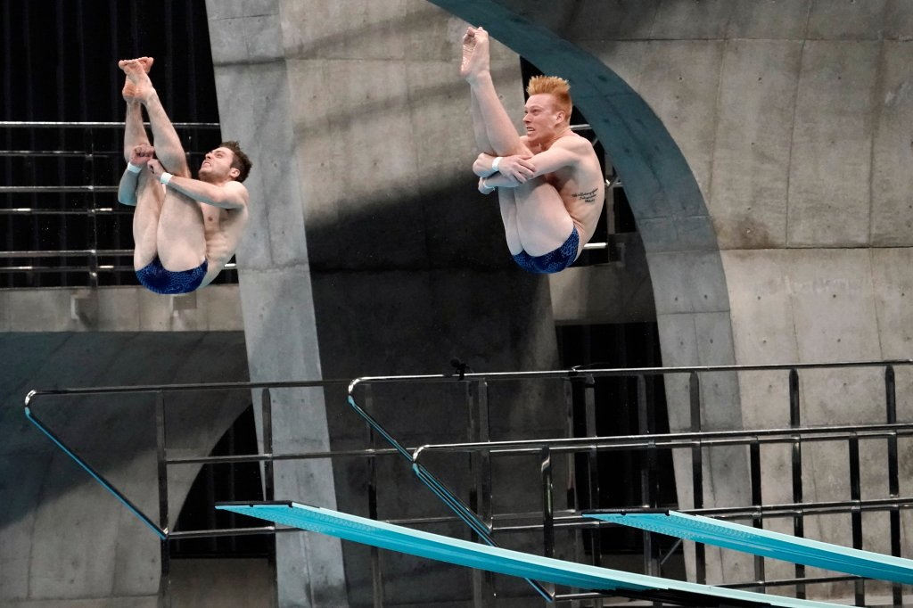 United States' Michael Hixon and Andrew Capobianco perform a dive during the men's synchronized 3-meter springboard preliminaries at the FINA Diving World Cup Sunday, May 2, 2021, at the Tokyo Aquatics Centre in Tokyo.