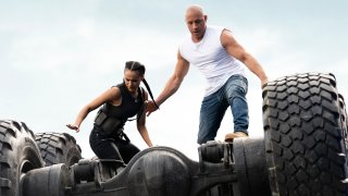 "Nathalie Emmanuel, left, and Vin Diesel in a scene from ""F9: The Fast Saga."""