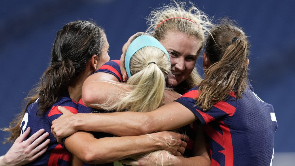 United States' Lindsey Horan, second from right, celebrates after scoring a goal during a women's soccer match against New Zealand at the 2020 Summer Olympics, Saturday, July 24, 2021, in Saitama, Japan.