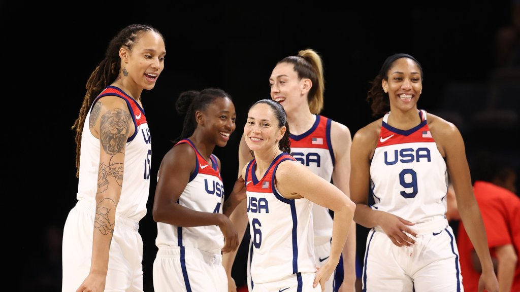 Brittney Griner #15 of the USA Basketball Women's National Team and teammates Jewell Loyd #4, Sue Bird #6, Breanna Stewart #10 and A'ja Wilson #9 during the game against the Nigeria Women's National Team on July 18, 2021 at Michelob ULTRA Arena in Las Vegas, Nevada.