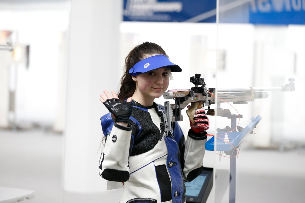 Mary Tucker of the Kentucky Wildcats competes during the Division I Men's and Women's Rifle Championship held at the French Field House on the Ohio State University campus on March 13, 2021, in Columbus, Ohio.