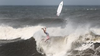 Surfers wipe out at the 2020 Tokyo Olympic Games