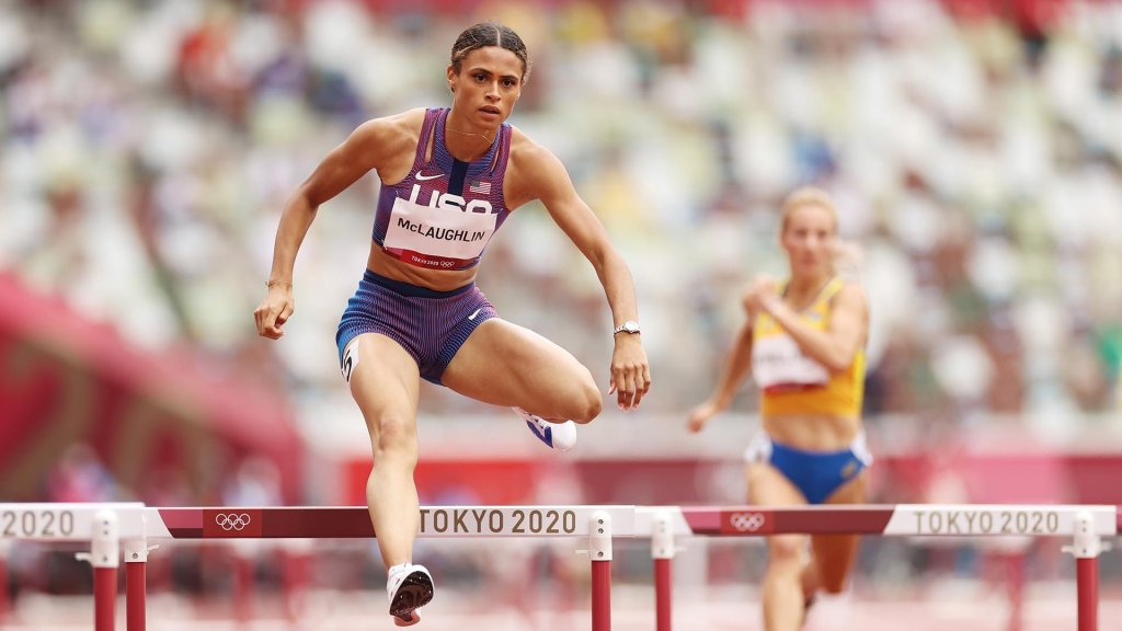 Sydney McLaughlin of Team United States competes in round one of the Women's 400m hurdles heats