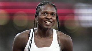 Runner Christine Mboma of Namibia at the Tokyo Olympics