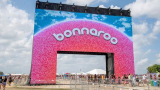 FILE - The new Bonnaroo arch appears at the Bonnaroo Music and Arts Festival on June 16, 2019, in Manchester, Tenn. Heavy rains from Hurricane Ida have forced Bonnaroo to cancel as organizer say the waterlogged festival grounds are unsafe for driving or camping. On social media, the festival said on Tuesday, Aug. 31, 2021, that tremendous rainfall over the last 24 hours, remnants of Ida's powerful winds and rain, have saturated the paths and camping areas.