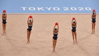Bulgaria competes in rhythmic gymnastics