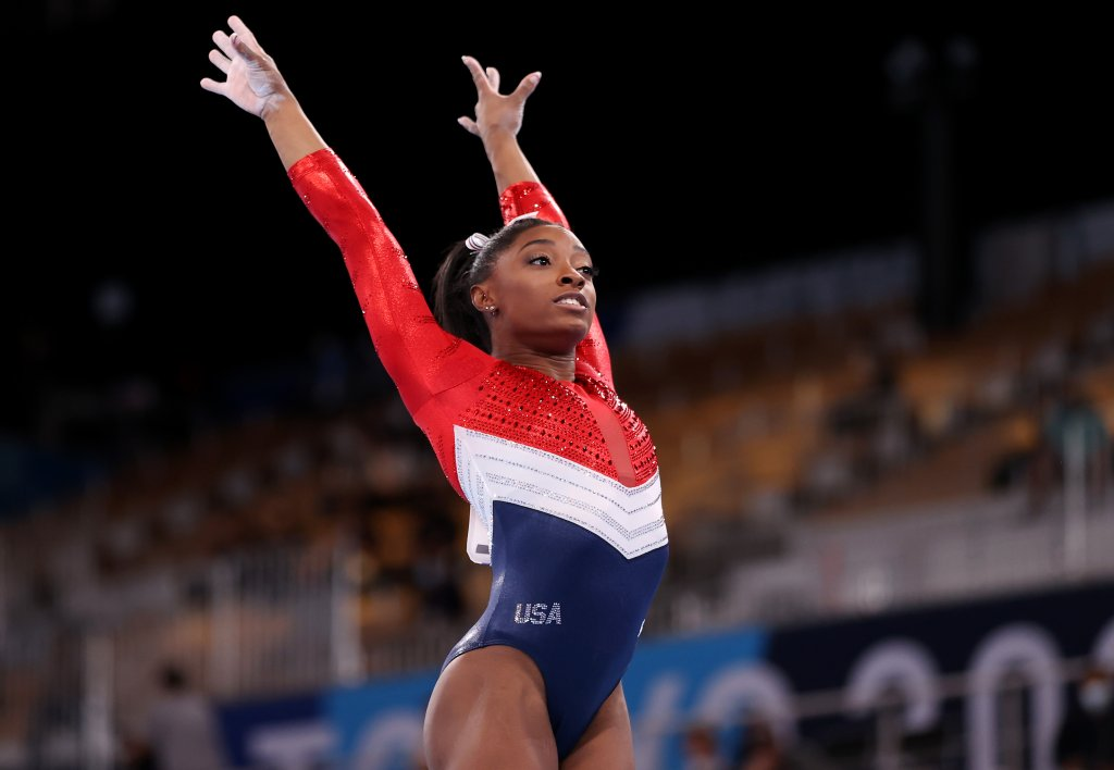 Simone Biles of Team United States competes on vault during the Women's Team Final on day four of the Tokyo 2020 Olympic Games at Ariake Gymnastics Centre on July 27, 2021, in Tokyo, Japan.