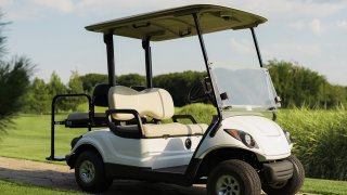 A white golf cart stands on a stone path against the backdrop of a golf course