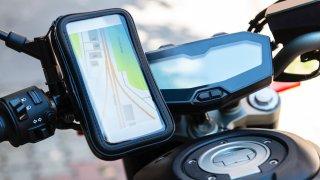 Smartphone mounted on a motorcycle's handlebars
