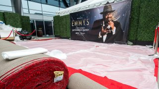 The red carpet area is readied for the Emmy Awards 2021 at L.A. Live, in Los Angeles