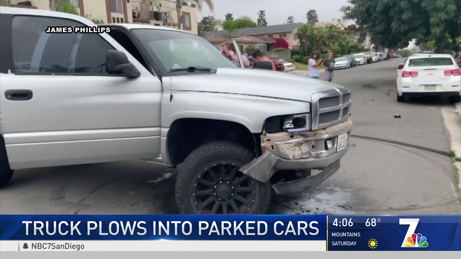 Truck Plows into Parked Cars in PB