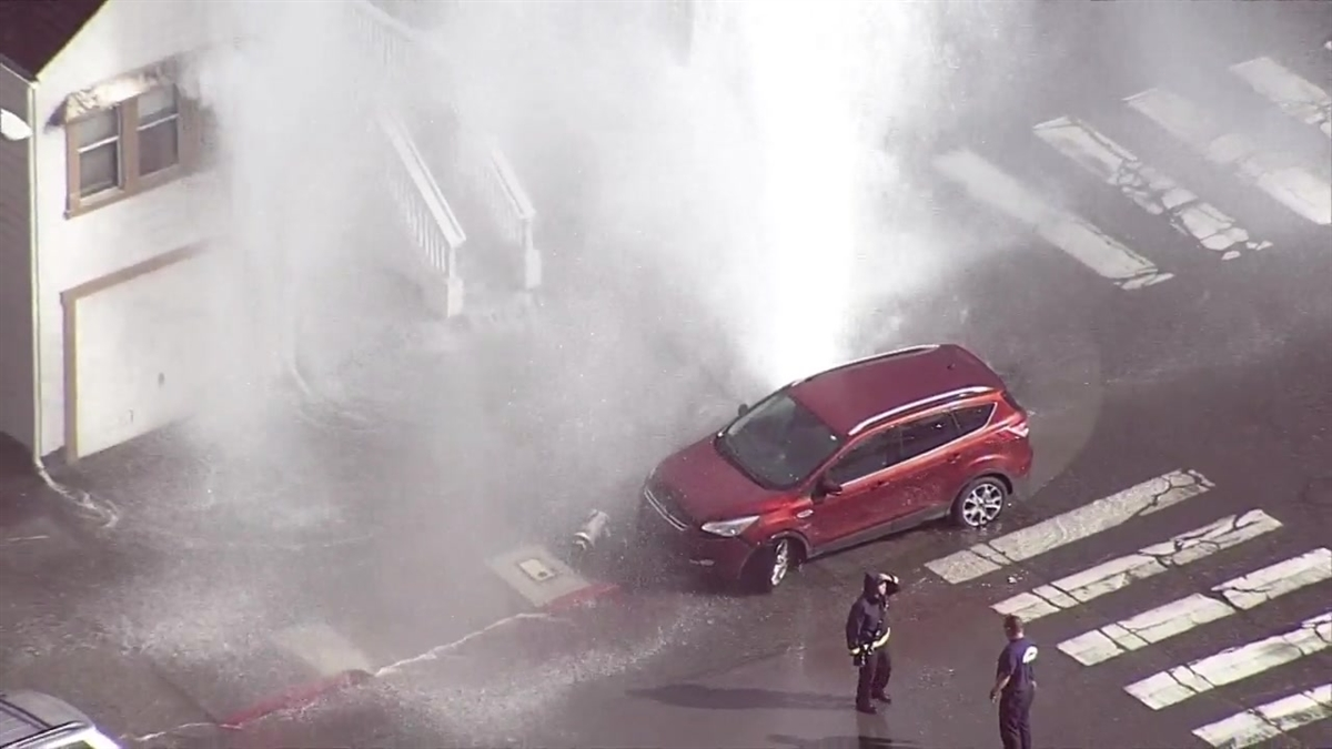 RAW: Vehicle Crashes Into Fire Hydrant in Oakland