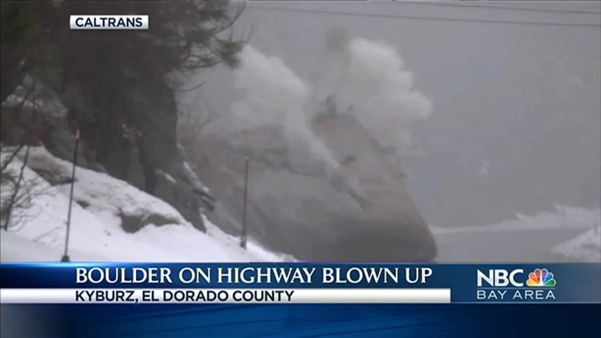WATCH: Crews Blow Up Boulder Blocking California Highway