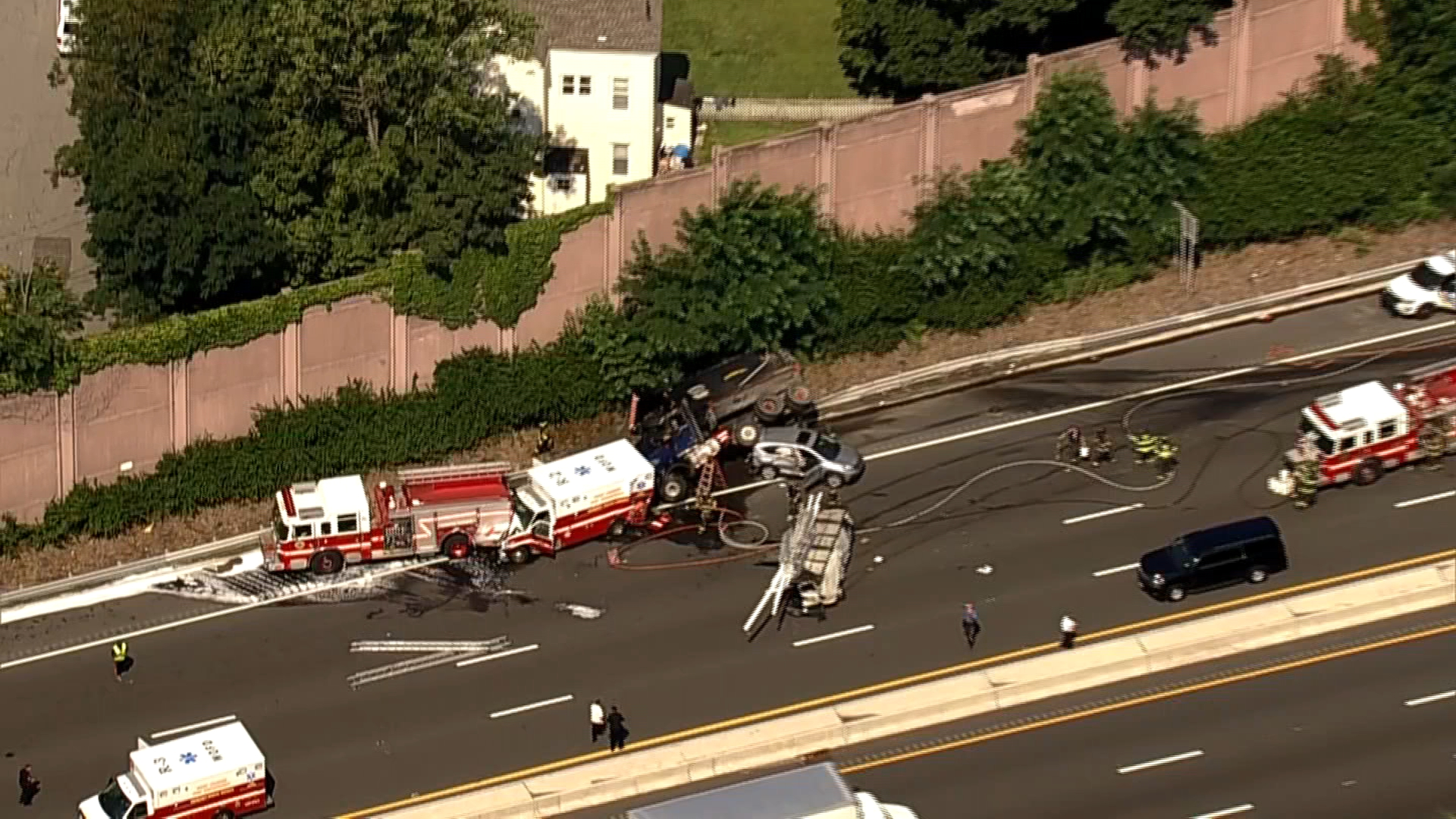 Cop SUV, Ambulance, Fire Truck in Twisted NJ Highway Wreck