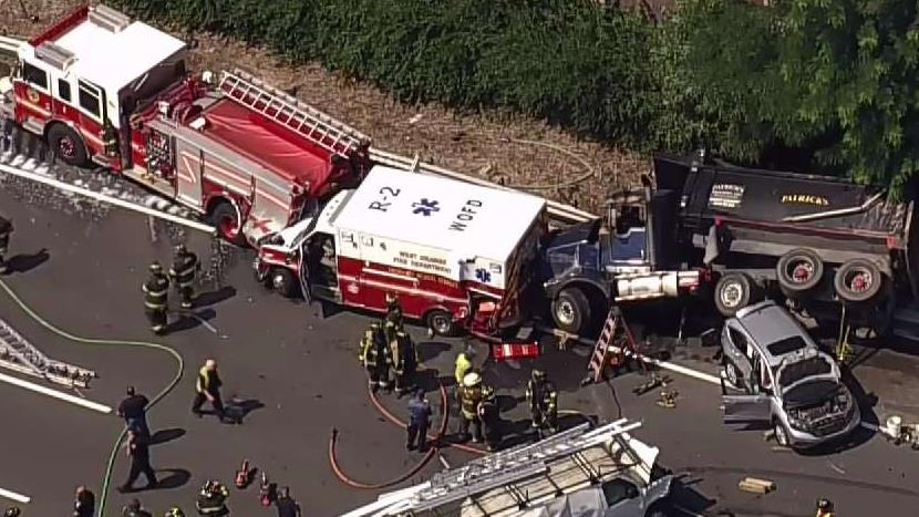 Massive Wreck in New Jersey Ensnares Police Car, Ambulance