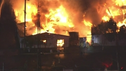Raw Video: Firefighters Attack Building Fire in Los Angeles